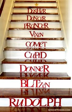 Names of Reindeer Christmas Decors for Stairs                                                                                                                                                                                 More