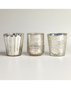 These votive candle holders can be used in any room in your house! Get them here: http://www.bhg.com/shop/world-market-silver-mercury-glass-votive-candleholders-set-of-3-p50f046b2e4b0fac56a6e9e7f.html?mz=a