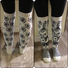 Knitted kneesocks with littlemyy from moomin Knitting Charts, Lace Knitting, Knitting Socks, Knit Crochet, Knitting Patterns, Crochet Patterns, Yarn Stash, Wool Socks, Happy Socks