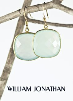 Aquamarine gemstone faceted square shaped drop earrings  by William Jonathan