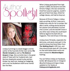 Check out this week's #AuthorSpotlight: #LindsayCummings #booknerdigans #YAbooks #thriller #TheMurderComplex  http://www.lindsaycummingsbooks.com/