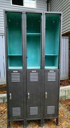 Painted Locker - Locker Birthday Ideas. #diylockers, #lockercubbies, #lockerdiy. Want to know more about Lockers  Click the link to read more. Repurposed Lockers, Vintage Lockers, Metal Lockers, Kids Locker, Locker Ideas, Metal Furniture, Industrial Furniture, Locker Furniture, Diy Furniture