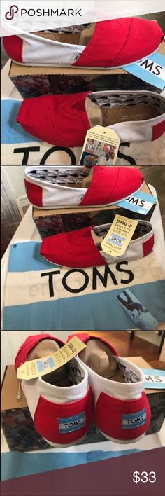TOMS-U. Of Arkansas colors- classic Canvas slipons TOMS-U. Of Arkansas colors- classic Canvas slipons. Red/White Toms Shoes