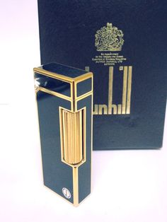 ALFRED DUNHILL  LIGHTER ~ 18 K Gold And Black Lacquer ~ Near Mint ~ Boxed…