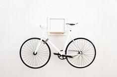 Slit bike rack design - Home Decorating Trends - Homedit Bicycle Hanger, Indoor Bike Rack, Diy Bike Rack, Bike Hooks, Bike Shelf, Velo Design, Rack Design, Wall Mount Bike Rack, Bike Storage Solutions