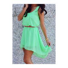 Rotita Round Neck Chiffon Light Green High Low Dress (160 SEK) ❤ liked on Polyvore