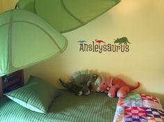 Cute #dinosaur room for a little girl named #Ansley.  #uppercaseliving #vinyl #ultorreh #dinodecor