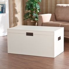 @Overstock.com - Barclay White Trunk Cocktail Table - The trunk table features a lovely, painted white finish and simple, squared design, the handles fold flat to the sides, keeping the linear design continuous. The trunk lid lifts to reveal a large storage area for pillows, blankets, and other daily items.  http://www.overstock.com/Home-Garden/Barclay-White-Trunk-Cocktail-Table/7322339/product.html?CID=214117 $163.39