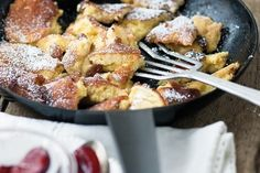 "Kaiserschmarrn - Also known as ""Emporers Trifle"" this dish is a true staple in Viennese cuisine and can not only be served as dessert but also as a main course. And: It is really easy to make. Austrian Cuisine, Austrian Food, Pastry Dishes, Wine Recipes, Cooking Recipes, Wiener Schnitzel, Austrian Recipes, German Recipes, Fruit Compote"