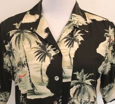 Women's Size S Tommy Bahama Silk Mother Of Pearl Button Hawaiian Shirt #TommyBahama #ButtonDownShirt #Career