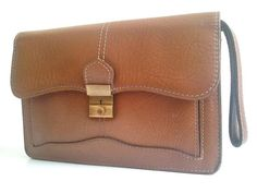 french 70s CLUTCH  /  brown leather by lesclodettes on Etsy, $52.00