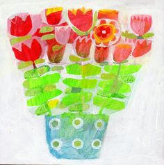 Original acrylic painting of flowers on board - colourful, garden, floral