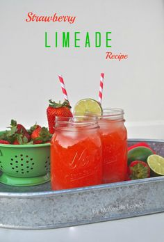 Refreshing Strawberry Limeade Recipe adding some rum for the family vacation whoop whoop