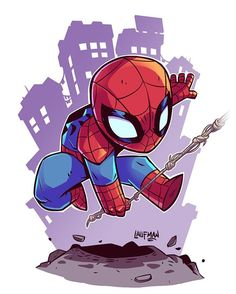 Who else is excited about Spiderman in Civil War? I don't care what you say the eyes are awesome! Also shameless plug you can grab Chibi Spidey prints at dereklaufman.com (link in my profile) #civilwar #spiderman #marvel