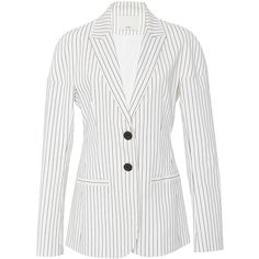 Tibi Cecil Striped Blazer (16 150 UAH) ❤ liked on Polyvore featuring outerwear, jackets, blazers, blazer, stripe, oversized white blazer, tibi blazer, striped jacket, white blazer jacket and stripe blazer