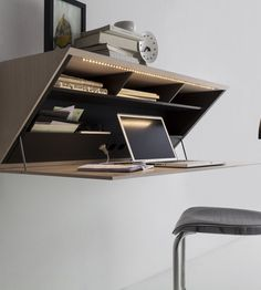 Folding Wall Desk Design Best Wall Mounted Desk Designs For Small Homes Wall Mounted Desk, Wall Desk, Wall Shelves, Storage Shelving, Storage Ideas, Shelf Desk, Office Furniture, Cool Furniture, Furniture Design
