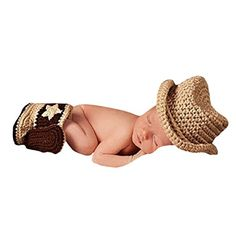 Pinbo® Baby Photography Prop Crochet Knitted Cowboy Hat Boots Set Costume (Affiliate)