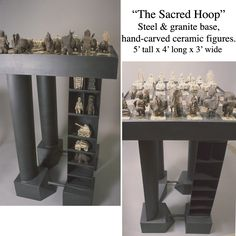 """Jamie E. Hatch. """"The Sacred Hoop"""" steel & granite chess board with ceramic hand-carved figures."""