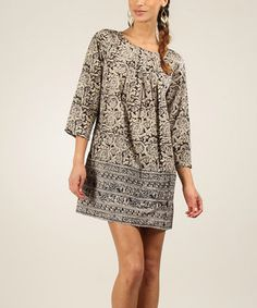 Love this Black & Beige Arabesque Shift Dress by Calecon Club on #zulily! #zulilyfinds