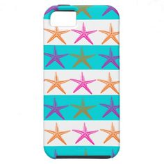 Summer Beach Theme Starfish on Teal Stripes iPhone 5 Cases