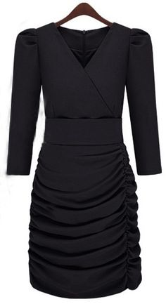 Black V-neck Half Sleeve Ruched Side Bandeau Wrap Dress - Sheinside.com