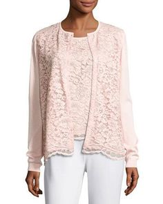 Lace-Front Cardigan, Light Pink, Plus Size