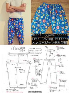 Free Mens Pyjama Pants Sewing Pattern Tutorial - メンズ パジャマ 無料型紙 - Sew in Love Japanese Sewing Patterns, Sewing Patterns Free, Free Sewing, Clothing Patterns, Sewing Men, Sewing Pants, Sewing Clothes, Men Clothes, Pajama Pants Pattern