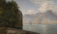Artwork by Janus Andreas Barthotin La Cour, CHÂTEAU DE CHILLON, LAKE GENEVA, Made of oil on canvas