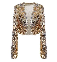 Brighten up your wardrobe with the glittering Anna-Kaci Womens Shiny Sequin Long Sleeve Cropped Blazer Bolero Shrug. Sequin Cardigan, Sequin Jacket, Sequin Blazer, White Cardigan, Sequin Top, Sparkly Crop Tops, Casual Mode, Cropped Cardigan, Shrug Cardigan