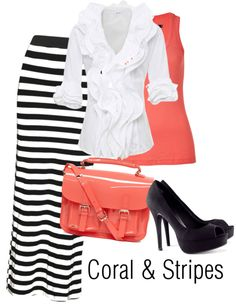 """Coral and Stripes"" by joyfulemma ❤ liked on Polyvore Modest Apostolic outfit!"
