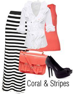 """Coral and Stripes"" by joyfulemma ❤ liked on Polyvore"