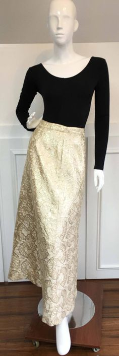 1960s Malbe Gold & Cream Metallic Lurex Full Length Skirt (10118CL) by LipstickGirlVintage on Etsy