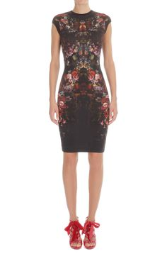 $1195 Painted Flowers Cap-Sleeve Pencil Dress