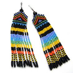 "Earrings ""Africa"" ​​- bright ethno-bead earrings with long fringe"