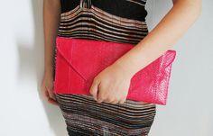 NEON - Red Pink Envelope Python Snakeskin Leather Clutch