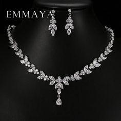 Emmaya Luxury Crystal Zircon Wedding Women African Jewelry Sets Choker Necklace Earrings