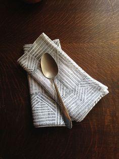 Thatch Print Hand Printed Linen Napkins