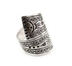 Boho Wrap RingTribal/ Ethnic Sterling Silver by SilverShapes