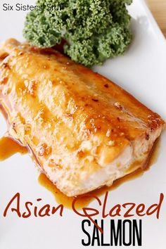 Salmon with Asian Glaze - Ingredients: 3/4 cup brown sugar 1/3 cup soy sauce 2 Tablespoons hoisin sauce 2 Tablespoons ginger, peeled and grated Dried red pepper flakes, to taste 1/2 teaspoon minced garlic 1 Tablespoon lime juice 4 (1-2 pound) boneless, skinless salmon fillets