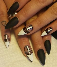 awesome 55 Black and White Nail Art Designs - nenuno creative Get Nails, Dope Nails, Swag Nails, Hair And Nails, Kiss Nails, Black Nails, White Nails, Black And White Nail Designs, Black White