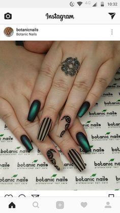 nails - Dark green and black stripes nail design Striped Nail Designs, Green Nail Designs, Striped Nails, Acrylic Nail Designs, Nail Art Designs, Nail Stripes, Dark Nail Designs, Nails Design, Acurlic Nails
