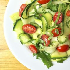 This raw cucumber zucchini salad with lemon basil vinaigrette is a fun and healthy way to enjoy the fresh flavors of summer.