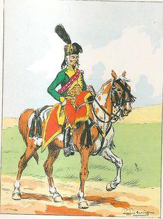 French; Hussards d'Augereau or Guides de l'Arme d'Alemagne, Officer, Grande Tenue,1798