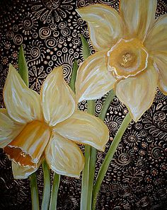 Daffodils by Cherie Roe Dirksen (prints available) #art #homedecor