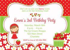 Invitation d'anniversaire aux fraises--girl fraise--fraise party invitation aux…