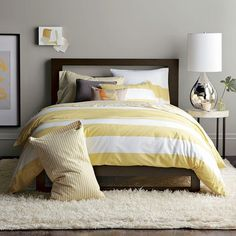 OH these colors speak to me...so pretty ...you hate to close your eyes....Yellow Striped Duvet - Grey Walls - Master or Guest Bedroom Ideas