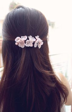 Items similar to Sakura Barrette, cherry blossom hair clip, hair accessories on Etsy Bridal Hair Buns, Bridal Hairdo, Engagement Hairstyles, Indian Wedding Hairstyles, Long Hair Wedding Styles, Short Hair Styles, Messy Short Hair, Diy Hair Accessories, Floral Hair