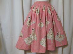 A wonderfully pretty vintage 1950s Ballerina novelty print circle skirt.
