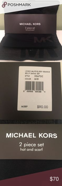 NWT MICHAEL KORS hat &scarf set for men or woman BRAN NEW IN PACKAGE MICHAEL KORS 2 piece set complete with a hat and scarf. This is truly versatile and can I work by ladies and men allowed. MICHAEL KORS Accessories Hats