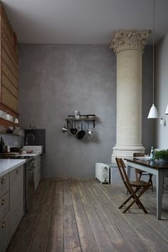 Looking for modern kitchen storage inspiration? These clever kitchen storage ideas make the most of the space you've got. Clever Kitchen Storage, Hidden Kitchen, Old Kitchen, Open Plan Kitchen, Grey Kitchen Cabinets, Kitchen Flooring, Grey Kitchens, Cool Kitchens, Painted Ceiling Beams